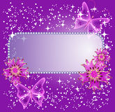 Background for text with flowers and butterfly Stock Images