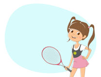 Background for text with the image of a girl with a tennis racket. Light blue background for text with a picture of standing girl in white t-shirt and pink Royalty Free Stock Images