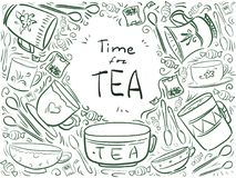 Background with text Time for tea - menu design. Doodle frame wi Royalty Free Stock Image