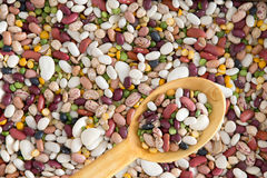 Background texture of assorted beans and legumes Stock Image