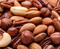 Background texture of assorted mixed nuts including cashew, peca Royalty Free Stock Photos