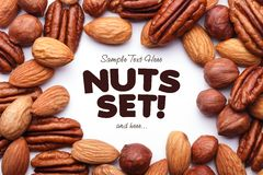 Background texture of assorted mixed nuts Stock Photos
