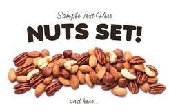 Background texture of assorted mixed nuts Royalty Free Stock Images