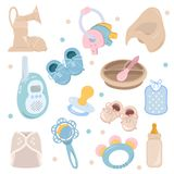 Background, texture, backdrop, pattern, wallpaper with children cartoon doodle flat toys. Kids illustration. Baby shower. Background, texture, backdrop, pattern Royalty Free Stock Photography