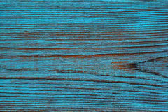 Background, texture of beautiful wood, artificially aged painted blue color Stock Photography