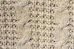 Background texture of beige pattern knitted fabric made of cotto Stock Photography