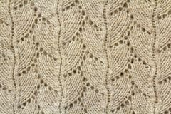 Background texture of beige pattern knitted fabric made of cotto Royalty Free Stock Photography