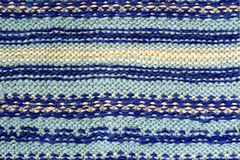 Background texture of blue pattern knitted fabric made of cotton Stock Photography