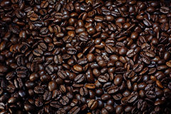 Background texture of coffee beans, roasted dark brown, copy spa Royalty Free Stock Image
