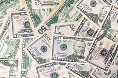 Background texture created with 50 American dollars.  stock images