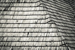 Detail of an old shingle wooden roof Stock Images