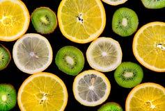 Background texture-fruit mix on black background. Stock Photography