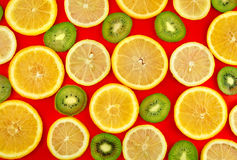 Background texture-fruit mix on red background. Stock Image