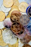 Background texture colorful Hanukkah coins Royalty Free Stock Photos