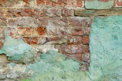 Background texture of green brick wall, abstract grunge backdrop Royalty Free Stock Photo