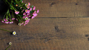 Background texture of  grunge wood board and little pink flowers. Copy space Royalty Free Stock Photos