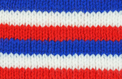 Knitted red white and blue texture Stock Photography