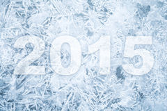 Background texture of ice with 2015 new year numbers Royalty Free Stock Photo
