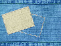 Background - texture jeans with label Royalty Free Stock Image