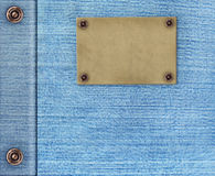 Background - texture jeans with label. Background - texture jeans of  blue color Stock Photos
