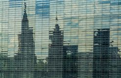 The background or texture from a large number of glass plates in which affects a view of the city and the sky. The background or texture from a large number of royalty free stock photos
