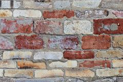 Background texture of multi-colored brick wall royalty free stock photo