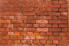 Background texture of old red brick walls. Wallpaper or desktop design royalty free stock photos