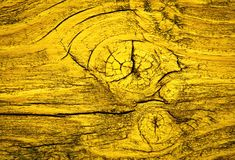 Old wood with a yellow paint royalty free stock photos