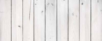 Panorama of white wood planks stock image