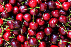 Background, texture or pattern from fresh, sweet, red cherry Stock Photos