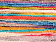 Background texture of Pile of colorful clean towels.  Stock Image