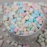 Background or texture of pink, blu and white mini marshmallows Stock Photo