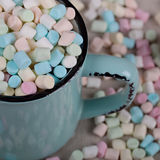 Background or texture of pink, blu and white mini marshmallows Royalty Free Stock Images