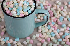 Background or texture of pink, blu and white mini marshmallows Royalty Free Stock Image