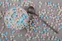 Background or texture of pink, blu and white mini marshmallows Stock Images