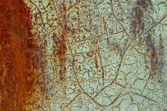 Background, texture of rusty surface with shabby old green paint royalty free stock images