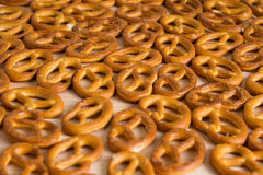 Background texture of salted savory mini pretzels in the traditi Royalty Free Stock Photography