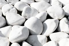 Background texture of smooth white stones. Or rocks used in landscaping and construction for decoration in a close up full frame view Stock Photography