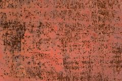 Background, texture: primed metal plate with rust spots Royalty Free Stock Image