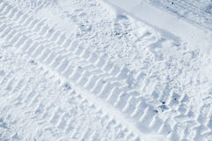 Background texture of  tire tracks on winter road Royalty Free Stock Photo