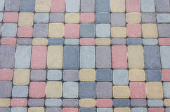 Background, texture of urban multicolored pavers on the whole frame. Horizontal frame Royalty Free Stock Photos