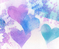 Background Texture Vintage Lace and Hearts. Stock Photos
