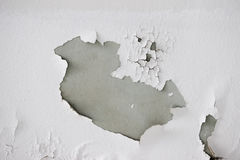 Background texture of white grunge concrete wall with peeling paint. On cement Stock Photo