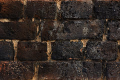 Background textured black bricks. 100 years old brick wall that gives you a great background Royalty Free Stock Photos