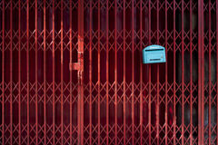Red steel. With blue mailbox Stock Image