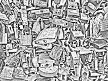 Background texture of metal locks. Rusty and new iron. Background textures of metal locks. Rusty and new iron royalty free illustration
