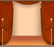 Background with theatre stage with red curtains Royalty Free Stock Images