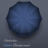 Background on a theme of autumn. Blue umbrella. Stock Photo