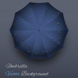 Background on a theme of autumn. Blue umbrella. Stock Photo