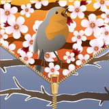 Background on a theme of seasons change. Spring and winter. Bird on a flowering tree branch. Zipper. Vector Image. Background on a theme of seasons change Stock Photography